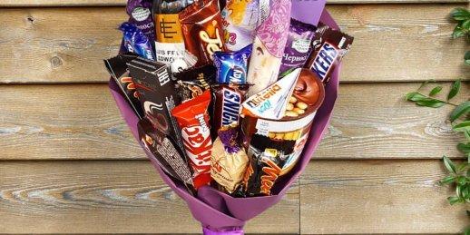 Nopirkt greznus ziedu un konfekšu pušķus bērniem