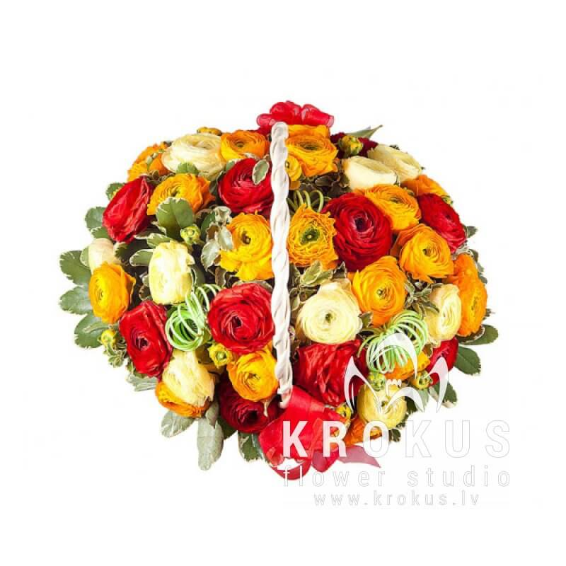 Ranunkulis basket is a beautiful bouquet of flowers in a basket ...