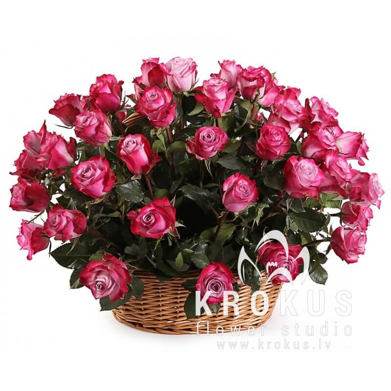 Two colour roses in basket is a beautiful bouquet of flowers in a ...