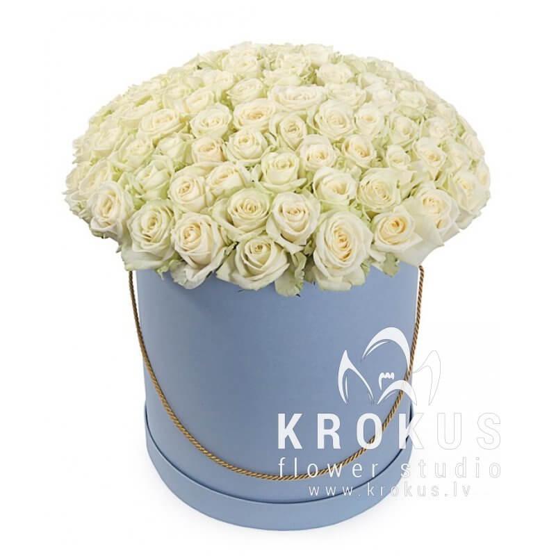 Table flower arrangement white roses in a stylish hat box order table flower arrangement white roses in a stylish hat box order and delivery of flowers in riga mightylinksfo