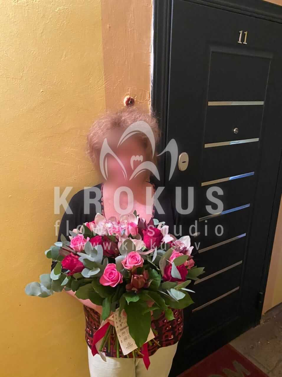 Deliver flowers to Olaine (orchidsgum treeleucadendronpink rosesred roses)